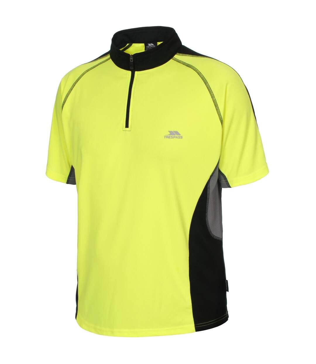 Trespass Mens Grenada Short Sleeve Zip Neck Athletic T-Shirt (Hi Vis Yellow) - UTTP336