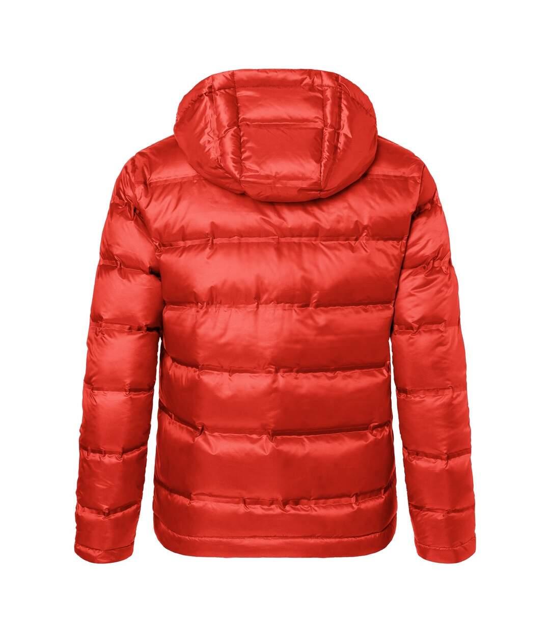James and Nicholson Mens Hooded Down Jacket (Flame Red/Black) - UTFU378