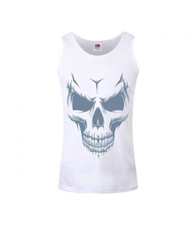 Grindstore Mens Grinning Skull Vest Top (White) - UTGR2055