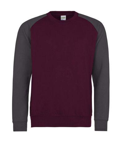 Awdis Mens Two Tone Cotton Rich Baseball Sweatshirt (Burgundy/Charcoal) - UTRW3929