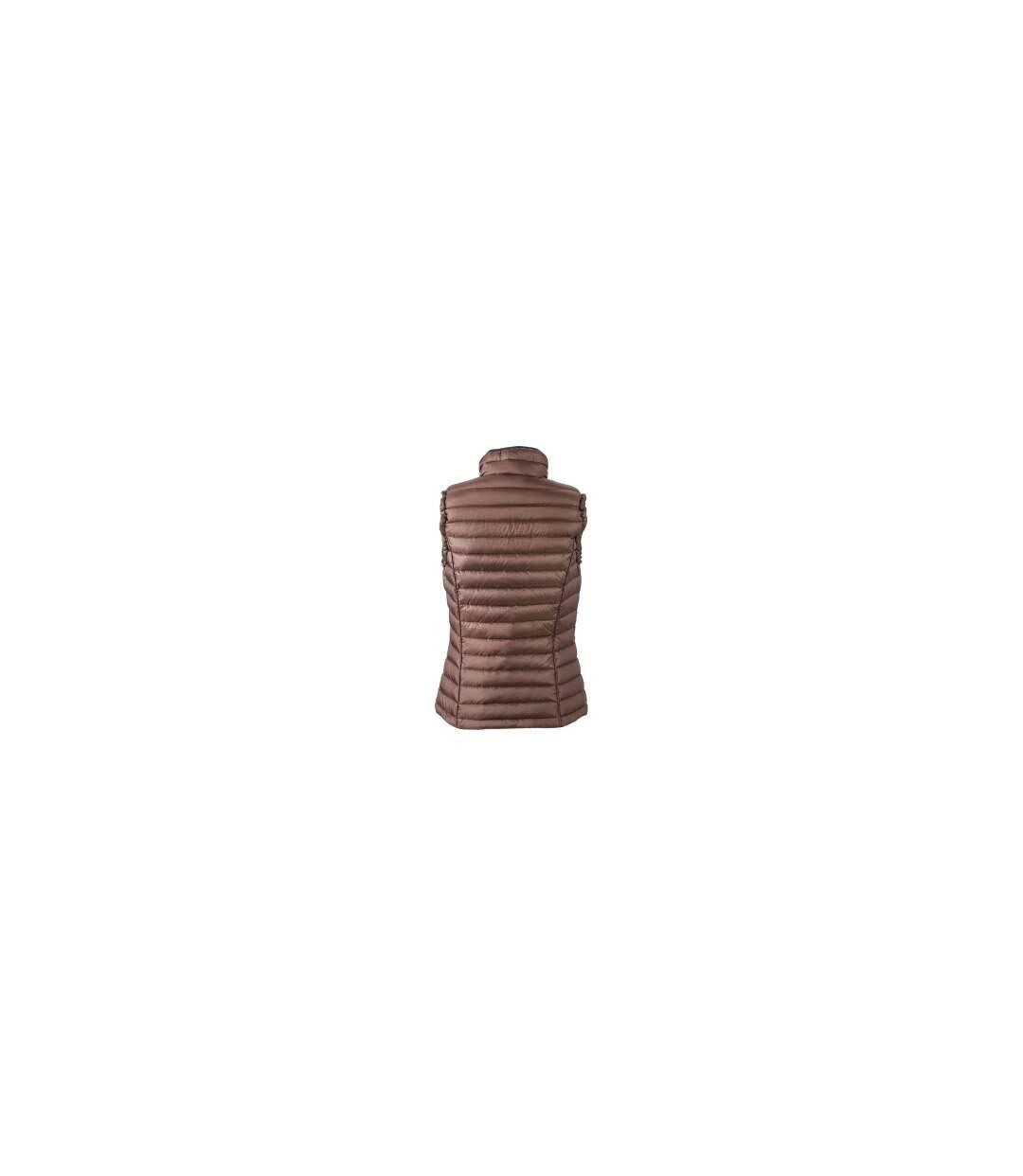 Gilet sans manches matelassé duvet FEMME - JN1079 marron - doudoune anorak