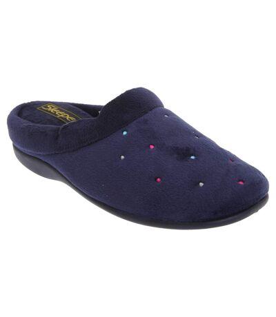 Sleepers Womens/Ladies Charley Extra Comfort Memory Foam Velour Mule Slippers (Navy) - UTDF281