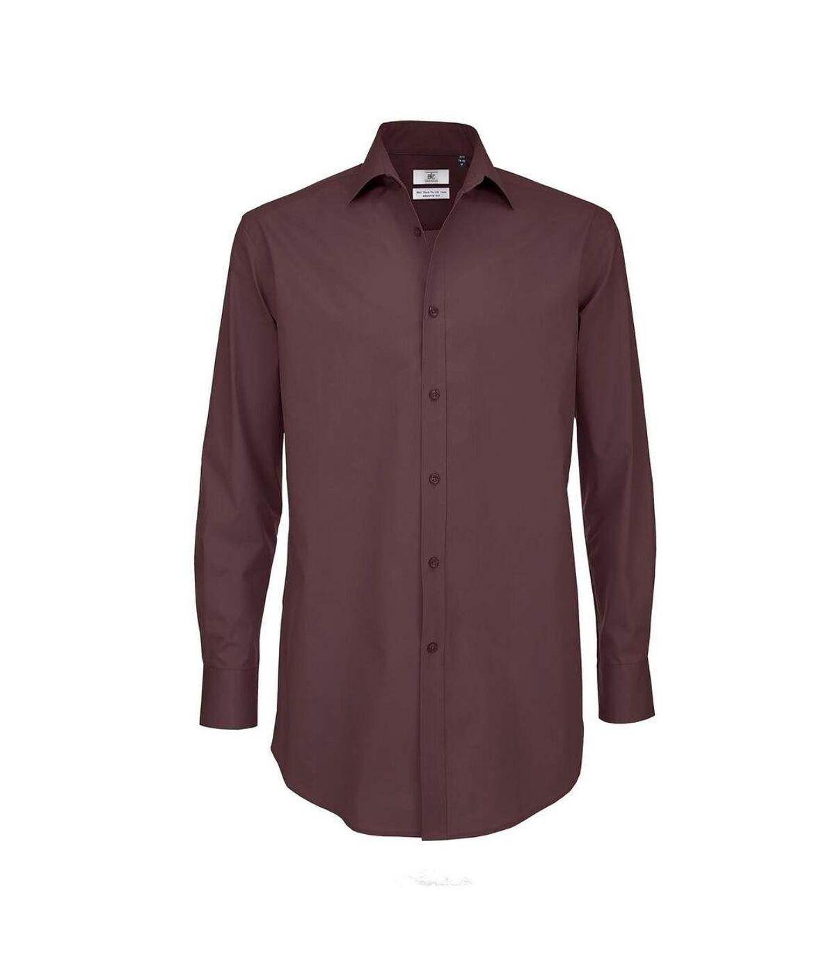 B&C Mens Black Tie Long Sleeve Formal Work Shirt (Luxurious Red) - UTRW3521