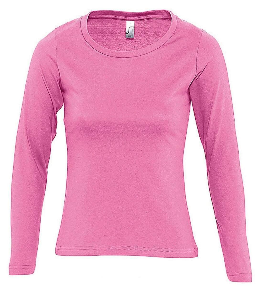 Dégagement T-shirt manches longues FEMME 11425 rose dsf.d455nksdKLFHG