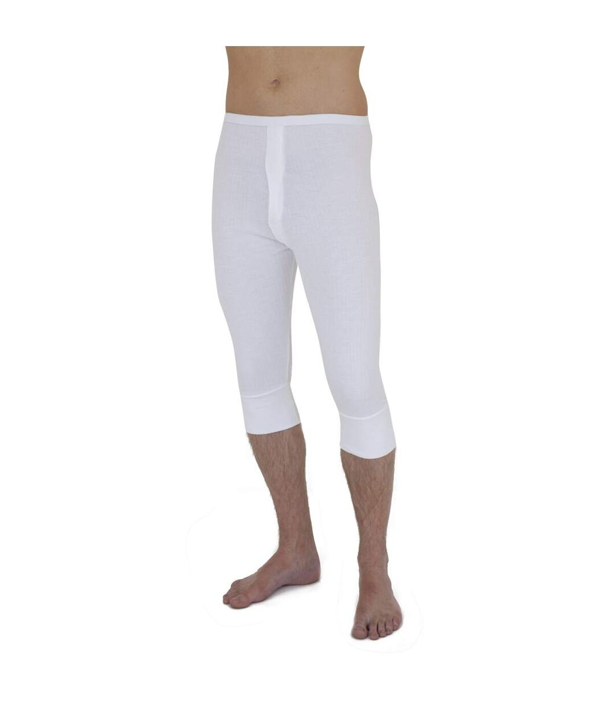 Mens Thermal Underwear 3/4 Length Long Johns Polyviscose Range (British Made) (White) - UTTHERM14