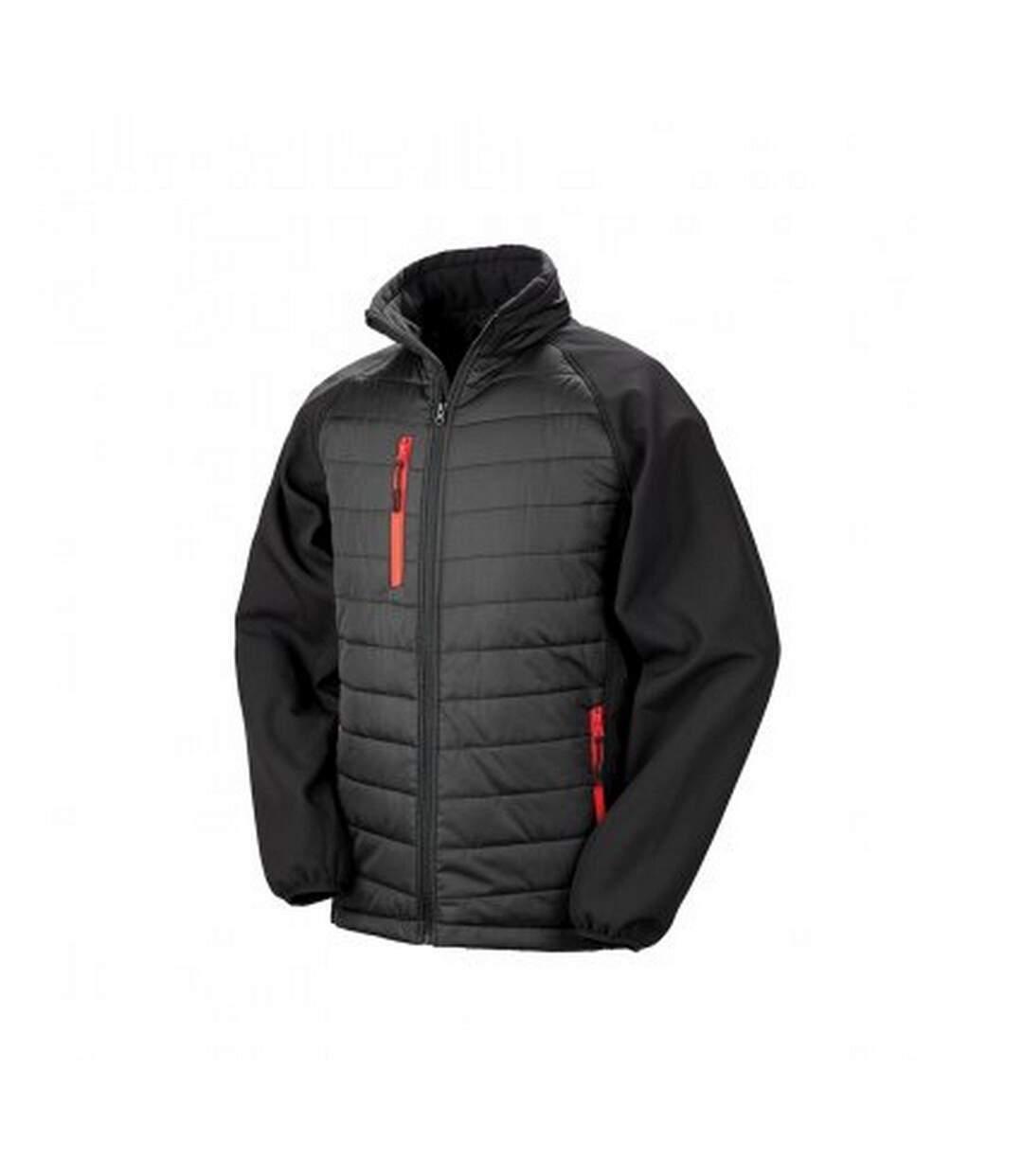 Result Mens Black Compass Padded Soft Shell Jacket (Black/Red) - UTPC3326
