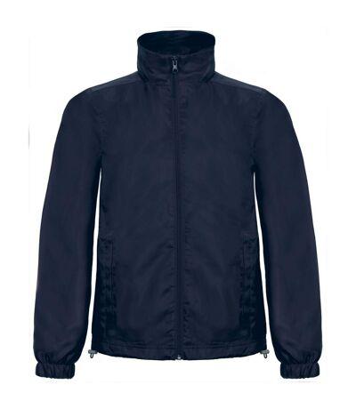 B&C Mens ID.601 Hooded Showerproof Windbreaker Jacket (Navy) - UTRW3524