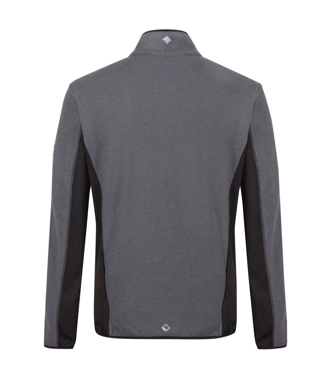 Regatta Mens Kestor Knit Effect Fleece (Black/Magnet Grey) - UTRG4472