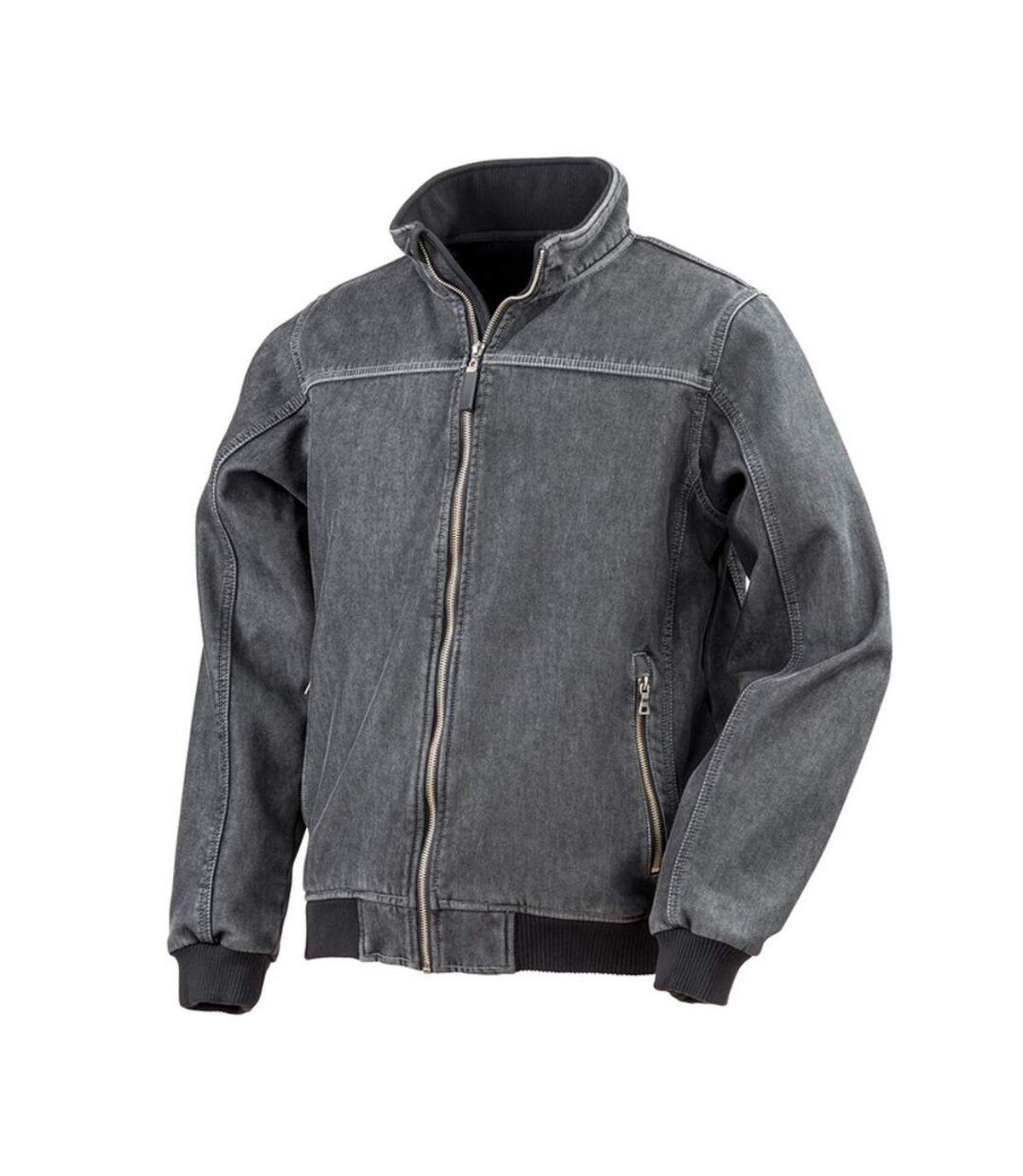 Result Mens Stone Wash Denim Bomber Jacket (Washed Black) - UTPC2867