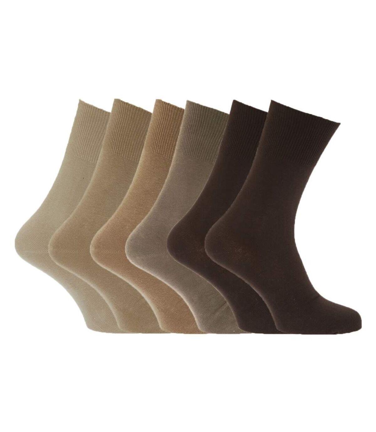 Mens Stay Up Non Elastic Diabetic Socks (Pack Of 6) (Shades Of Brown) - UTMB250