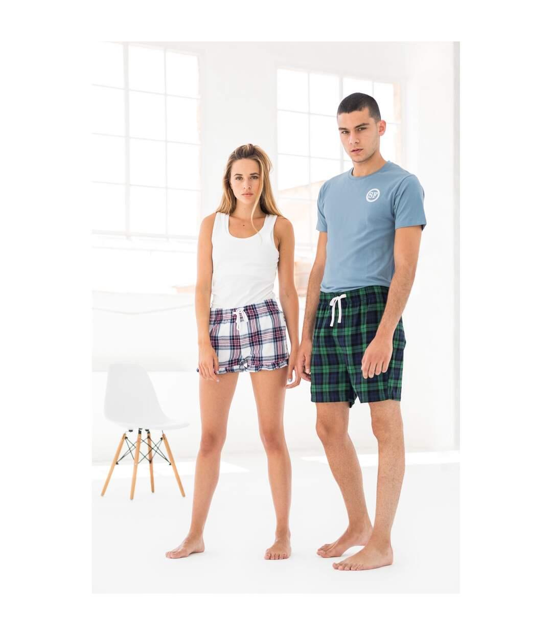 Skinni Fit Mens Tartan Lounge Shorts (Navy/Green Check) - UTRW7322