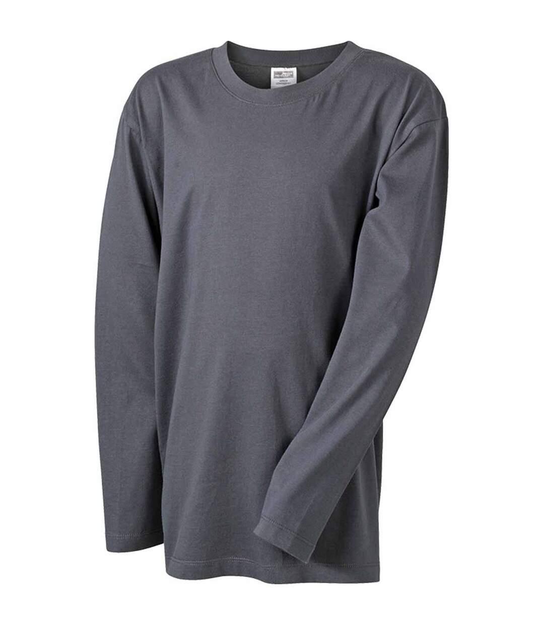 T-shirt manches longues adulte homme coupe droite JN913 - gris graphite