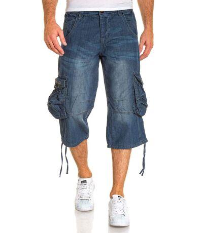 Bermuda en jean bleu multipoches fashion