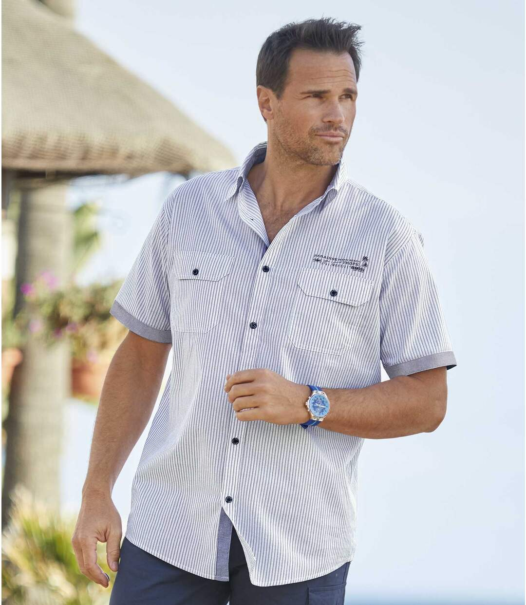 Popelinowa koszula w paski West Island Atlas For Men