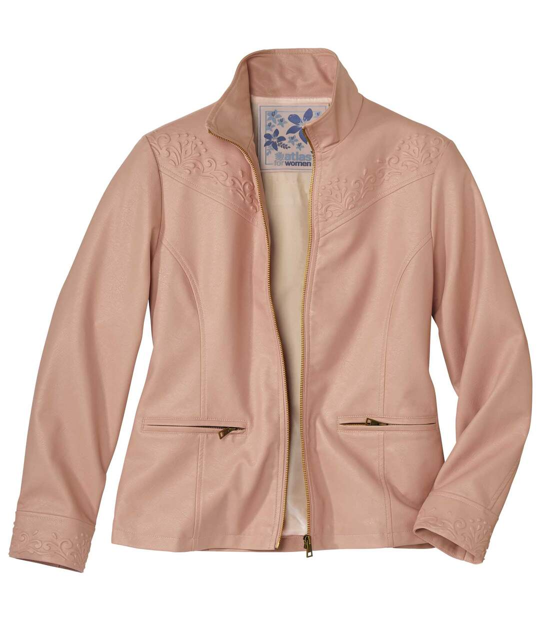 Women's Pink Faux-Leather Jacket