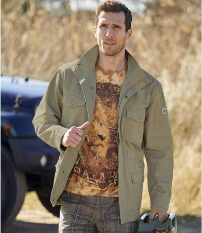 Men's Full Zip Khaki Safari Jacket