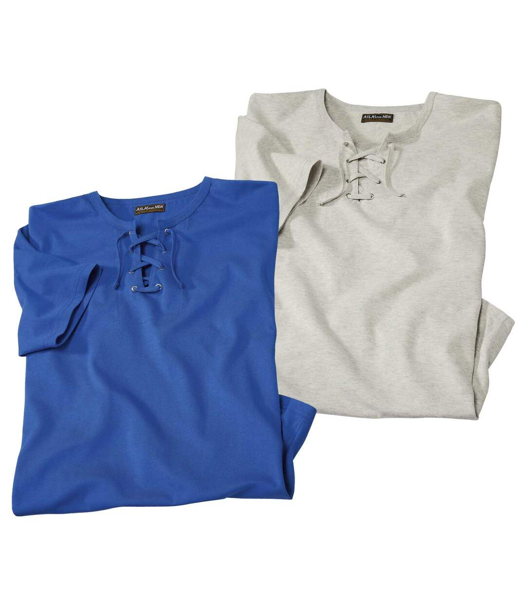 Pack of 2 Men's Lace-Up Neck T-Shirts - Ecru Blue