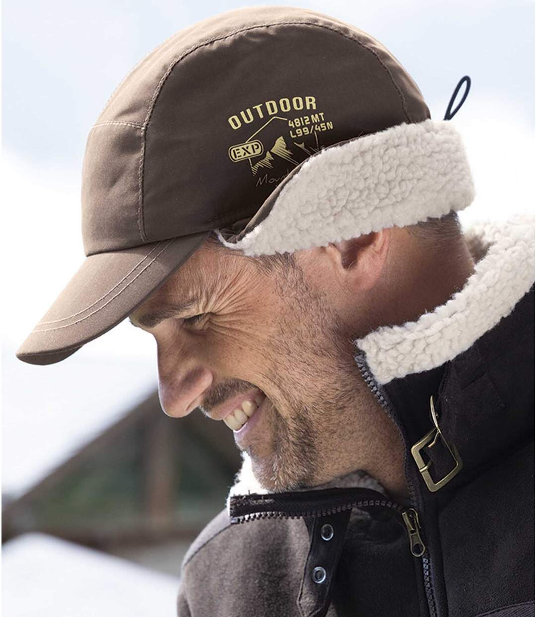 Czapka z daszkiem z nausznikami i z podszewką z kożuszka sherpa Atlas For Men