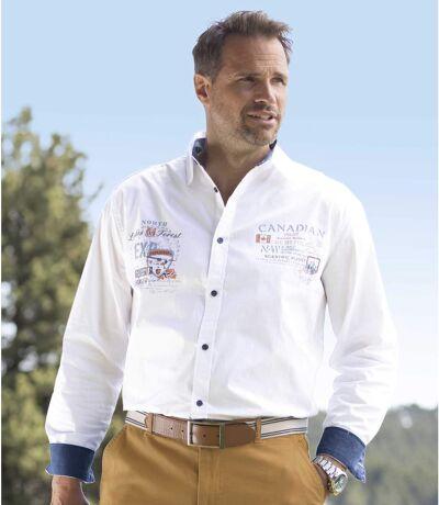 Men's White Poplin Pilot Shirt