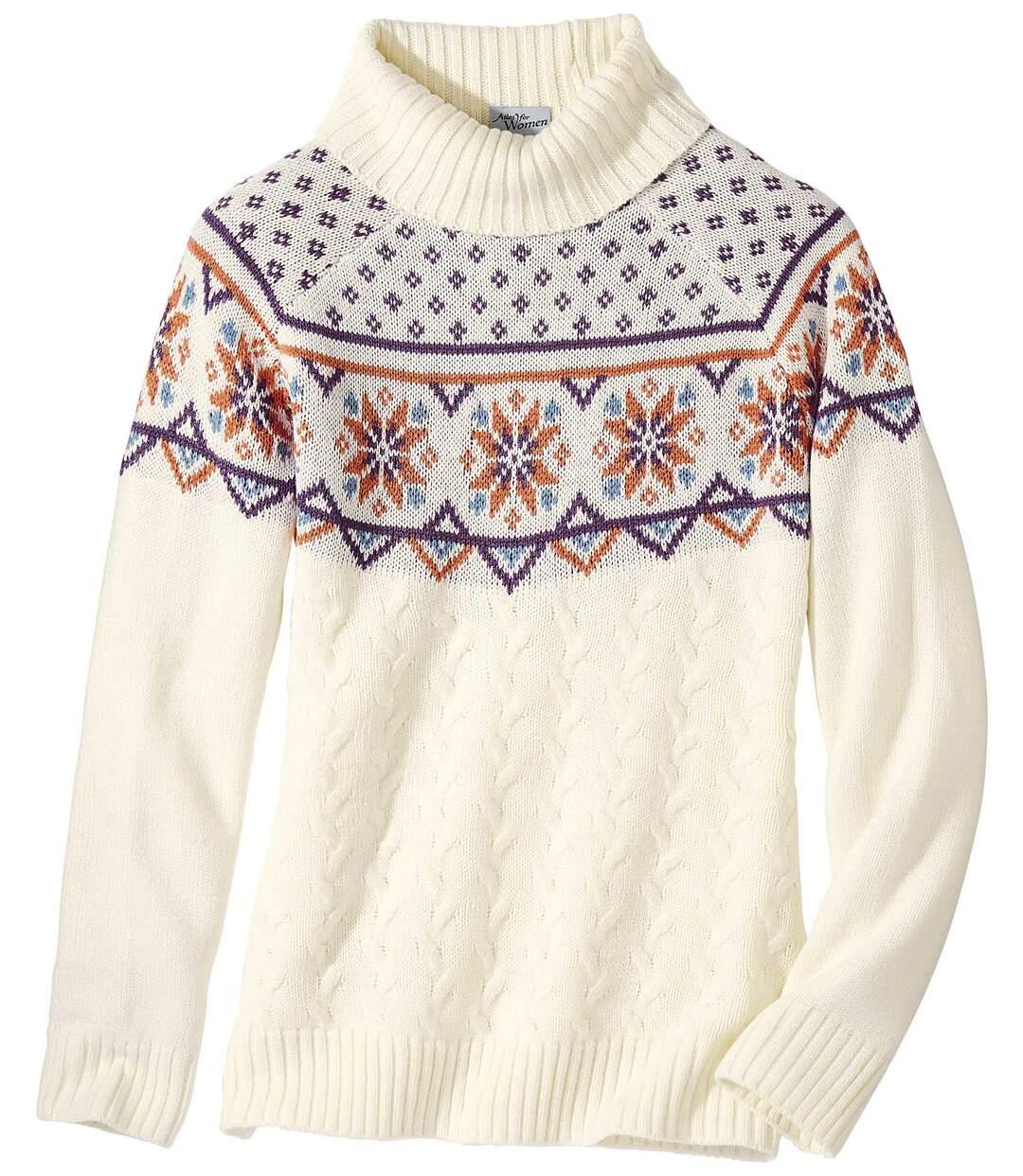 Jacquard mintás garbónyakú kötött pulóver