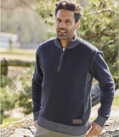 Men's Navy Half-Zip Sweater