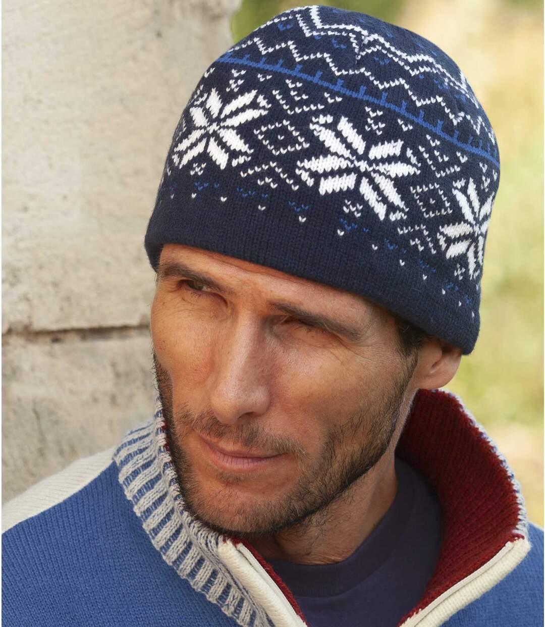 Men's Blue Jacquard Hat with Polar Fleece Lining