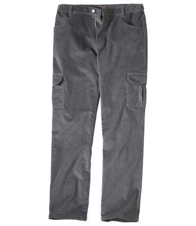 Men's Grey Battle Comfort Stretch Corduroy Trousers
