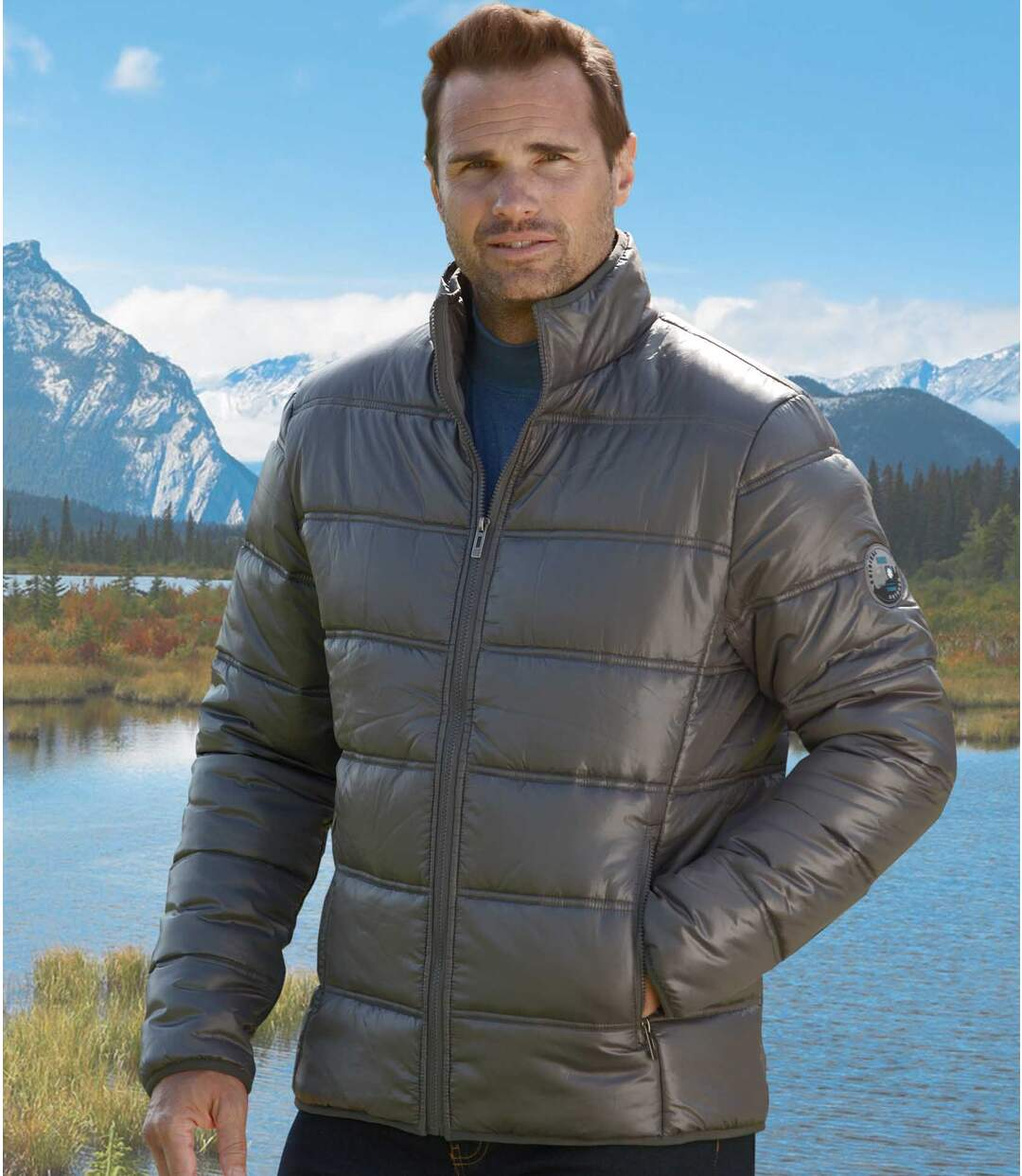 Men's Grey Winter Puffer Jacket