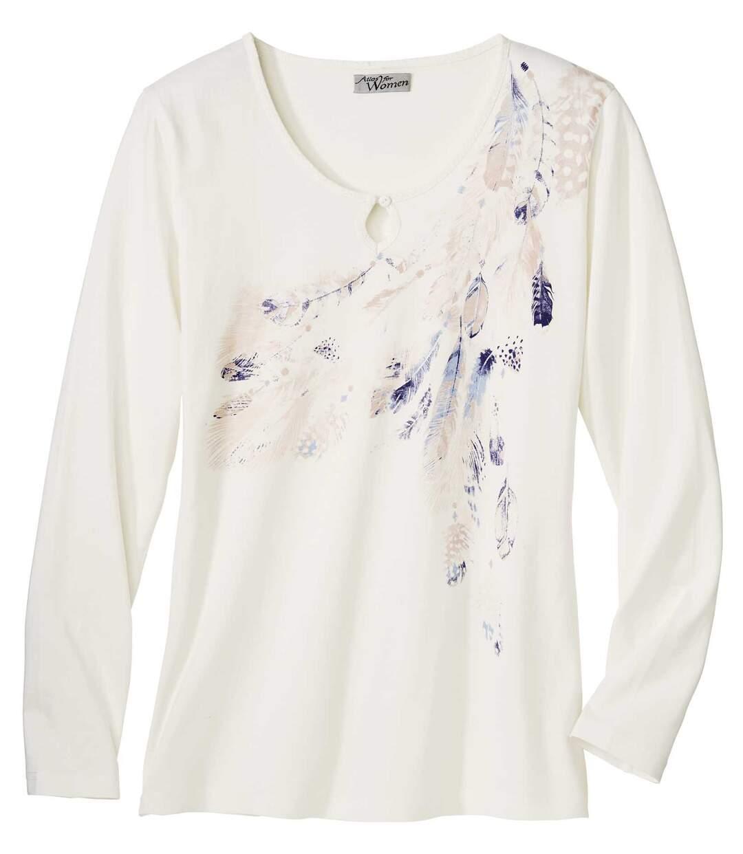 Tričko s motivy ptačích per v pastelových tónech