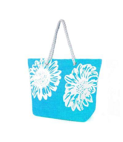 Sac cabas à imprimé floral (Turquoise) (Taille unique) - UTBAG176