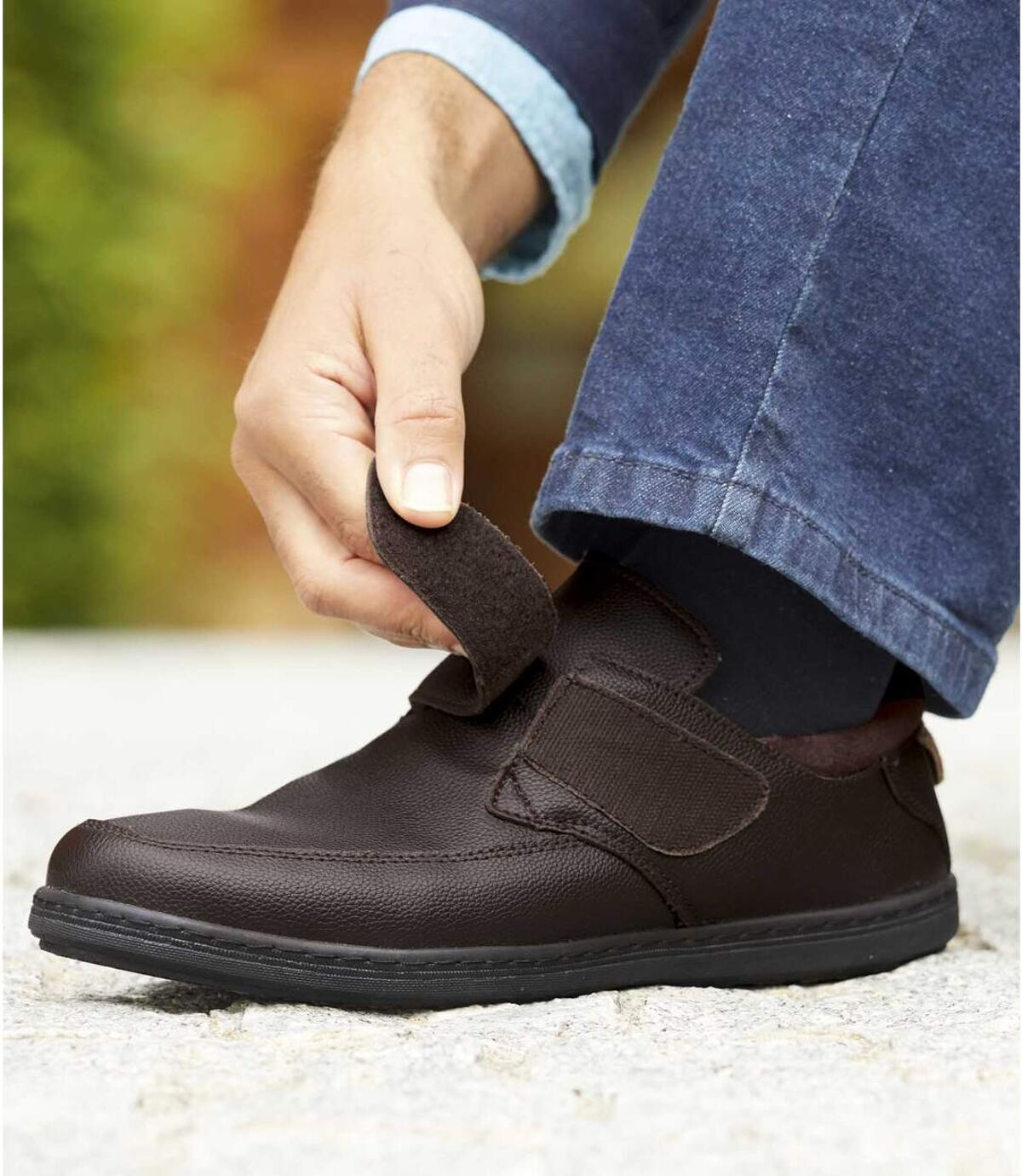 Men's Leather Hook-and-Loop Moccasins - Dark Brown Atlas For Men