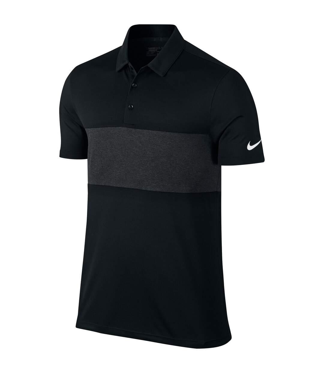 Nike Mens Breathe Colour Block Short Sleeve Polo Shirt (Black/Black Heather/White) - UTRW5599