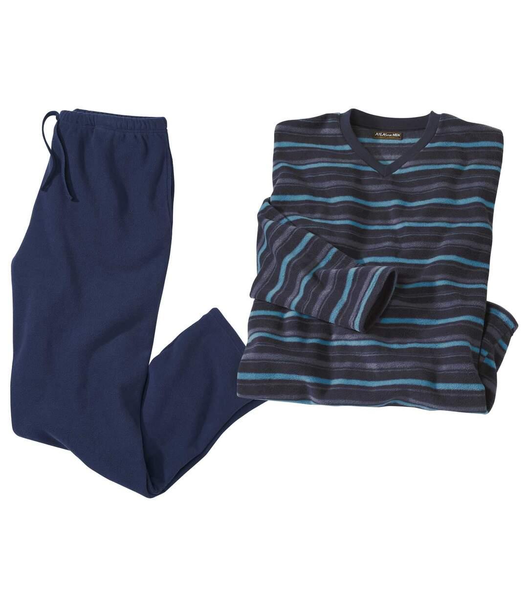Men's Navy Blue Striped Microfleece Pyjamas