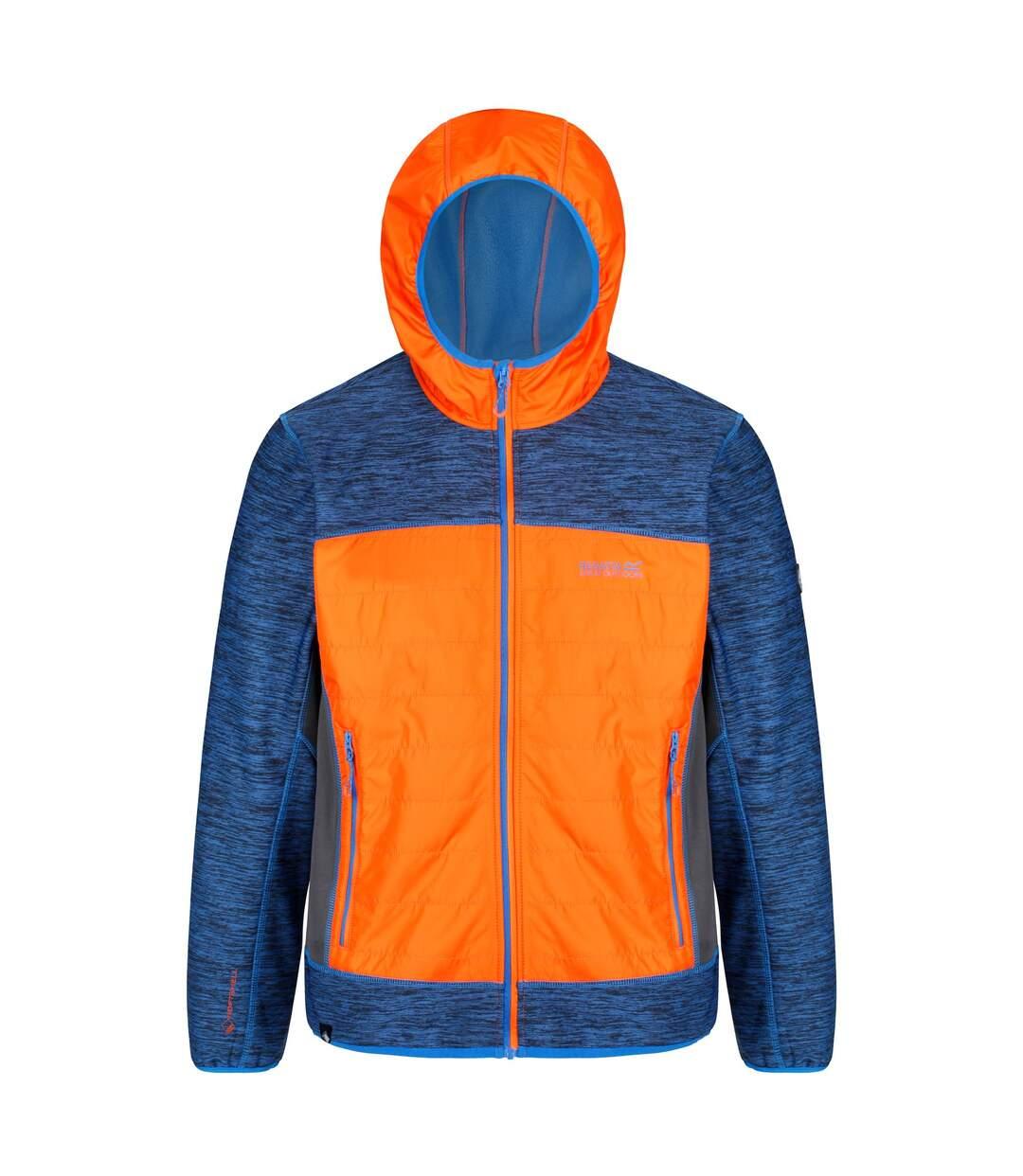 Regatta Mens Harra II Hybrid Stretch Water Repellent Softshell Jacket (Oxford Blue/Orange Blaze) - UTRG3850