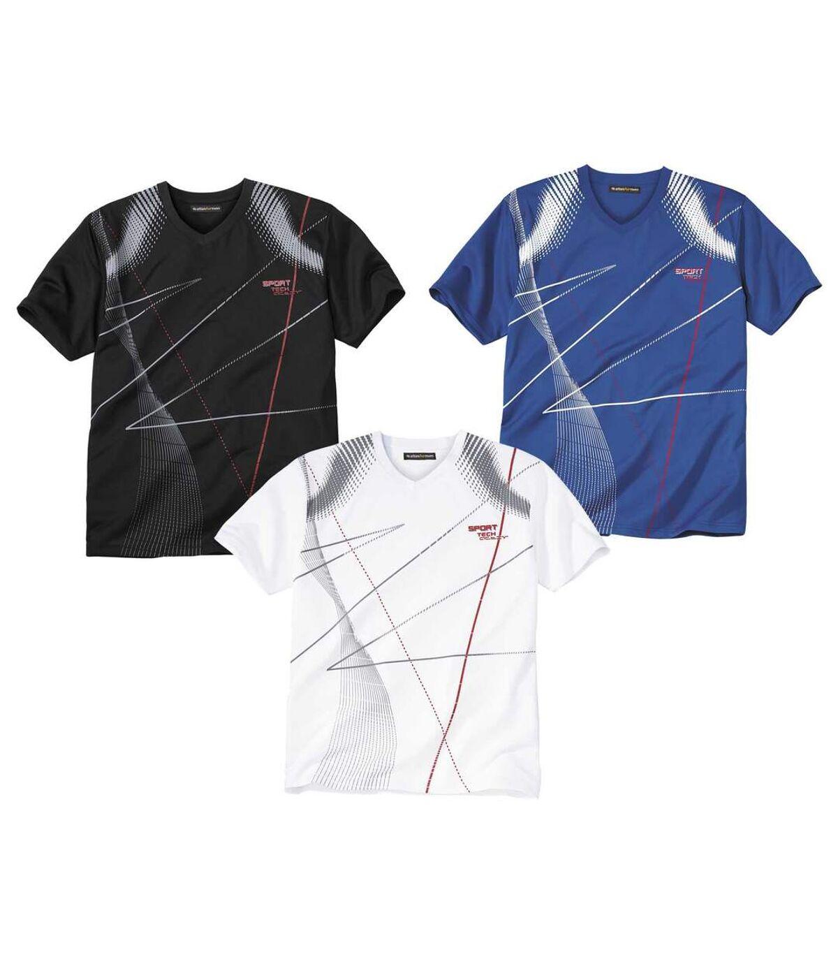 Pack of 3 Men's Cotton T-Shirts - Black White Blue Atlas For Men
