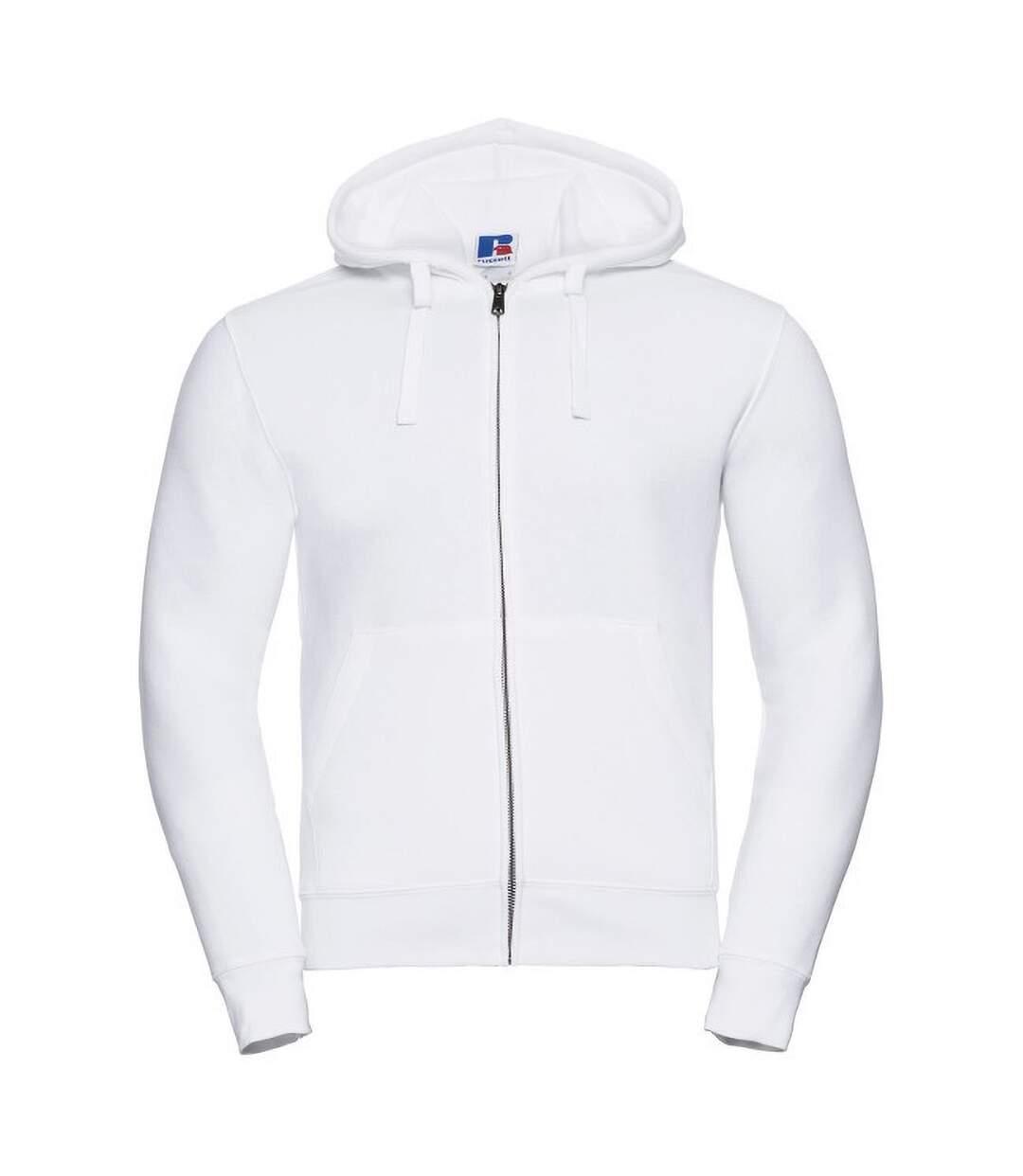 Russell Mens Authentic Full Zip Hooded Sweatshirt / Hoodie (White) - UTBC1499