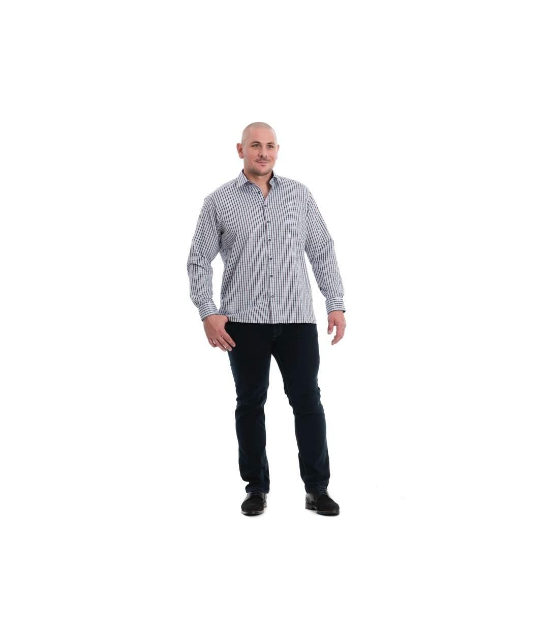Chemise grise à carreaux bleu et bordeaux