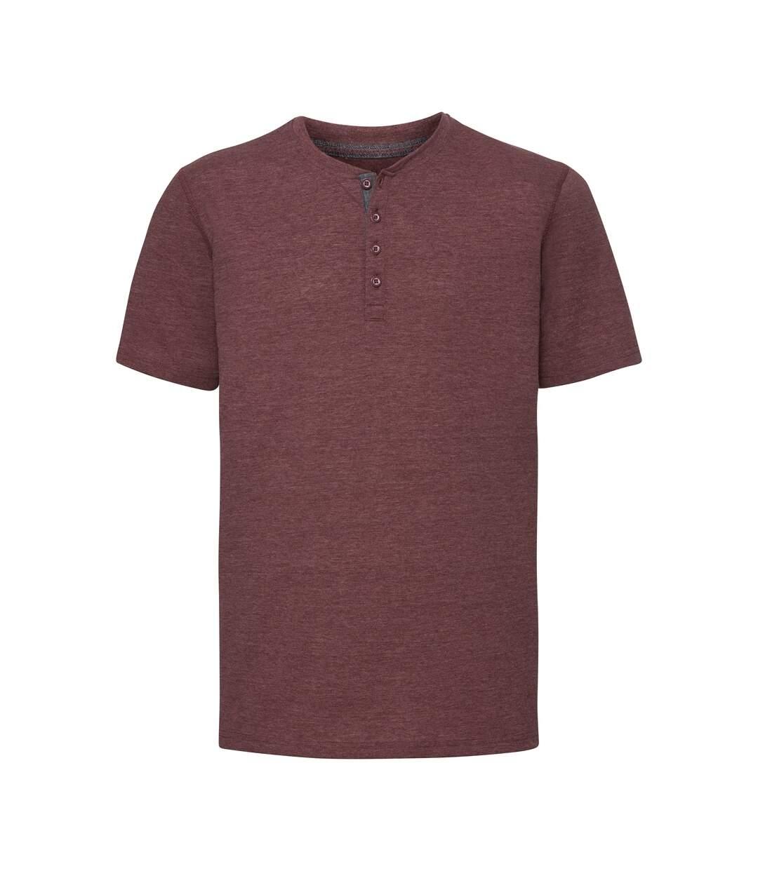 Russell - T-shirt manches courtes HENLEY - Homme (Bordeaux chiné) - UTPC3636