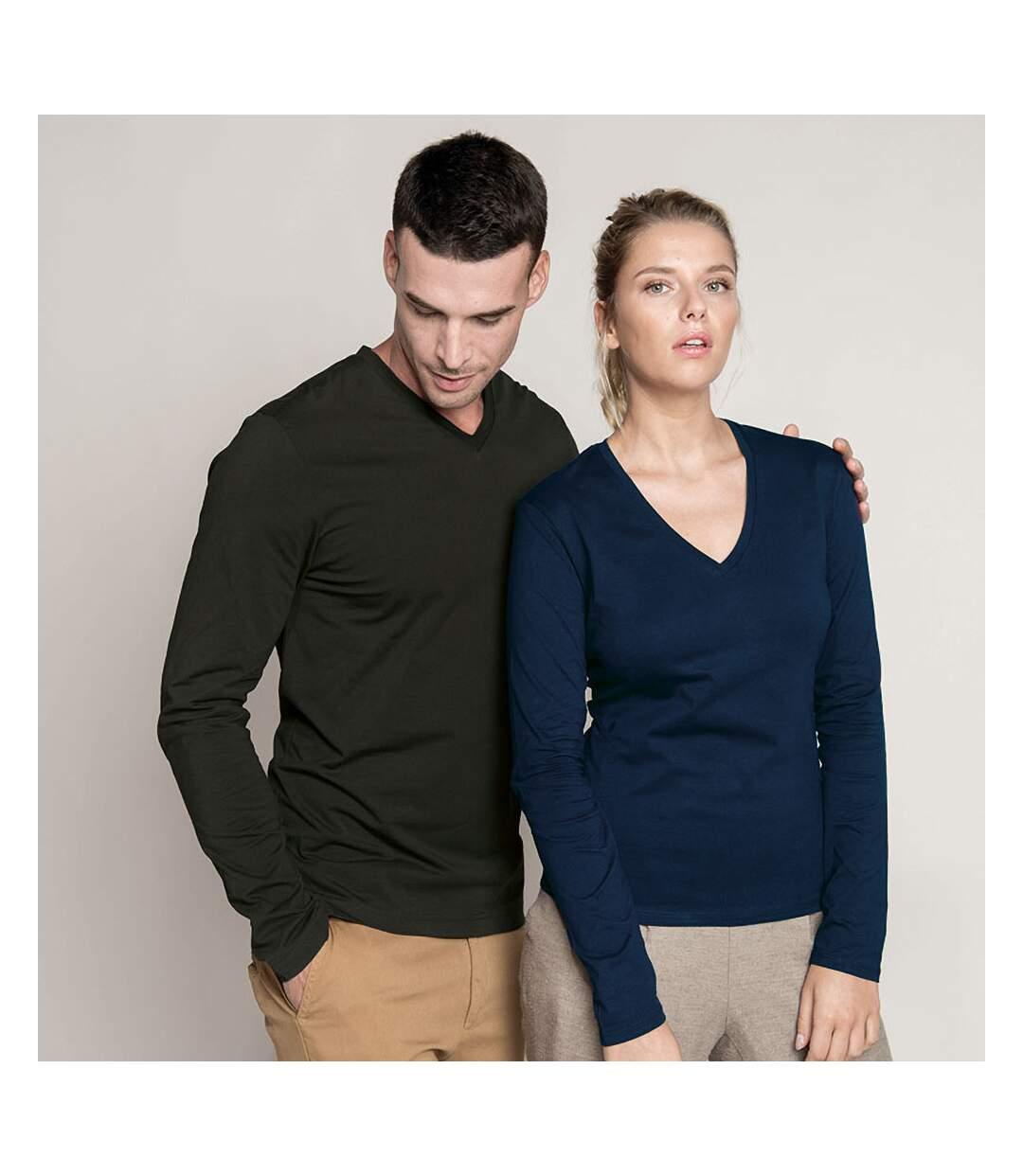 Kariban Mens Slim Fit Long Sleeve V Neck T-Shirt (Black) - UTRW708