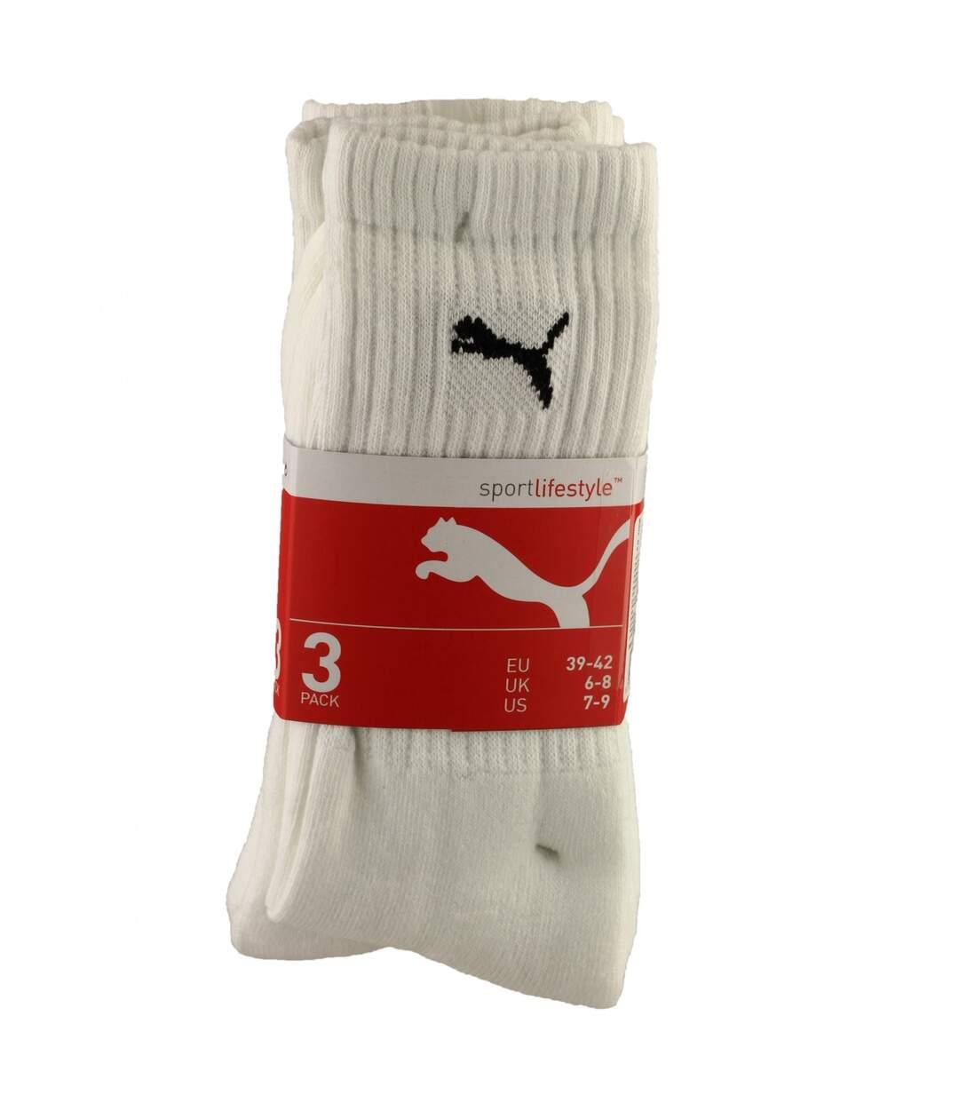 Puma Crew Sport Socks 3 Pair Pack / Mens Socks (White) - UTFS2209