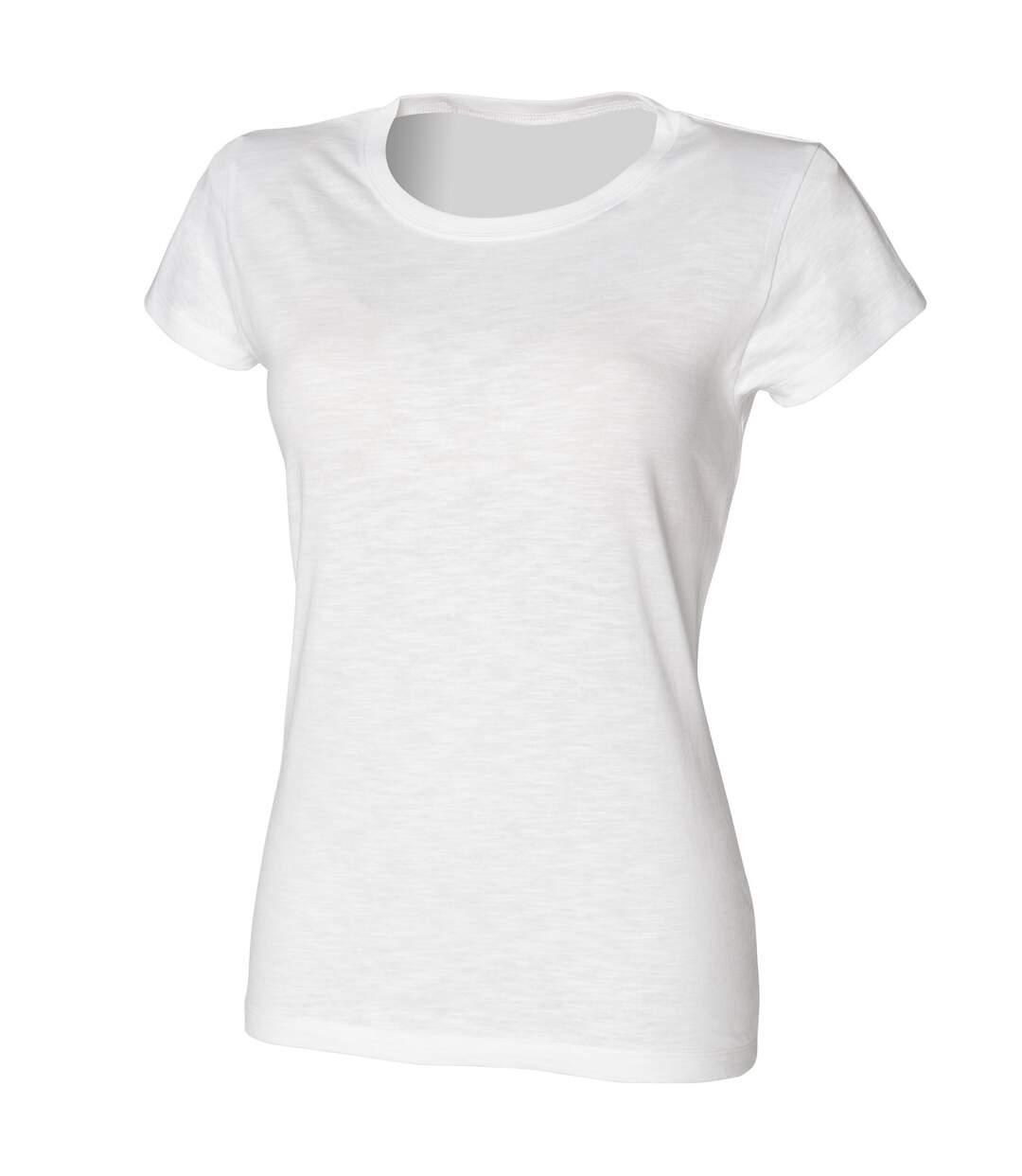 Skinni Fit - T-Shirt Long - Femme (Blanc) - UTRW1377