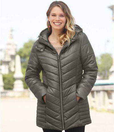Długa, pikowana kurtka z kapturem
