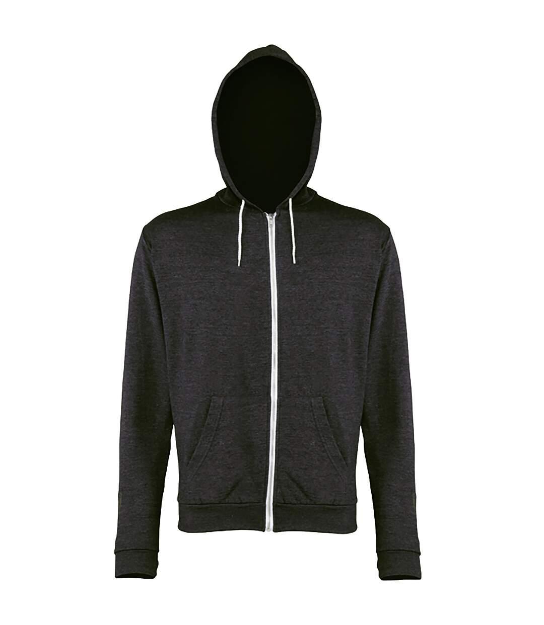 Awdis Mens Heather Lightweight Hooded Sweatshirt / Hoodie / Zoodie (Black Heather) - UTRW184