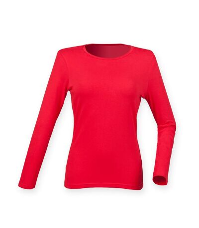 Skinni Fit Womens/Ladies Feel Good Stretch Long Sleeve T-Shirt (Bright Red) - UTRW4726