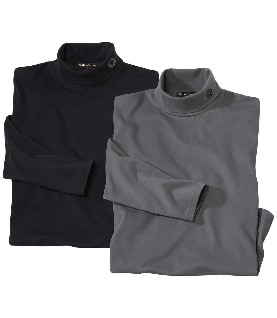 Pack of 2 Men's Turtleneck Tops - Black, Grey Atlas For Men