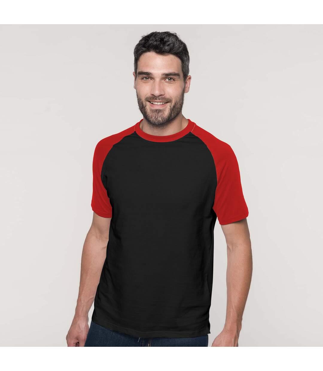 Kariban Mens Short Sleeve Baseball T-Shirt (White/Red) - UTRW705