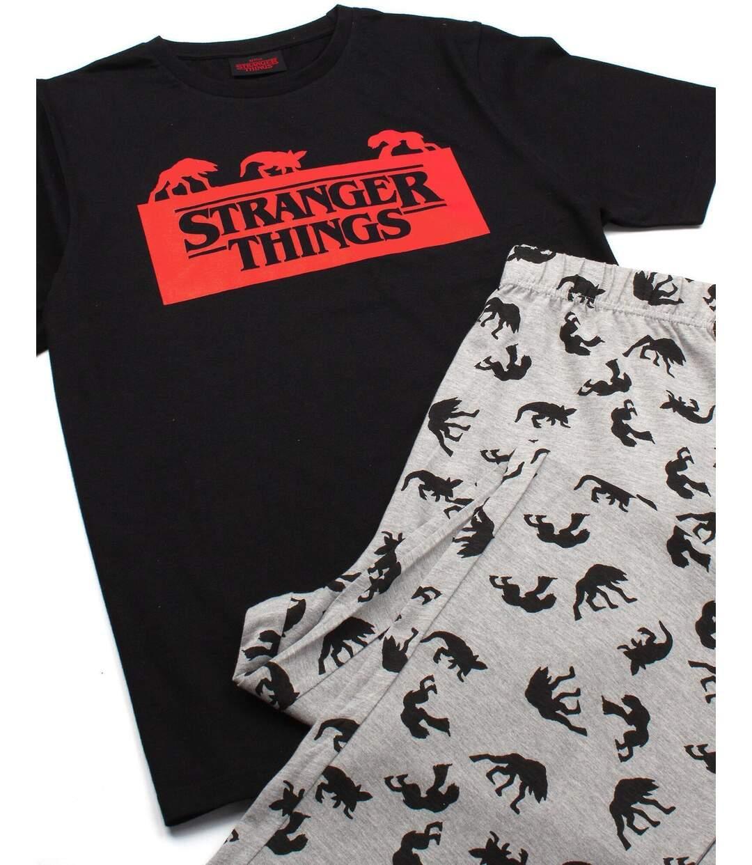 Stranger Things Mens Long Pyjama Set (Black/Red/Grey) - UTNS6036