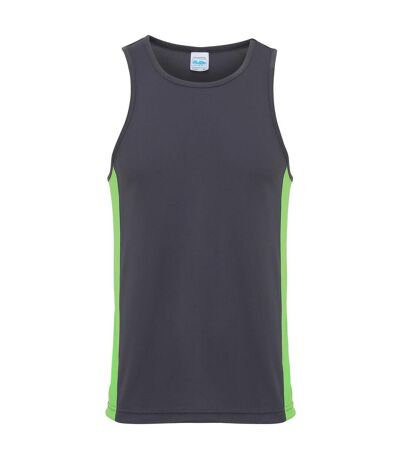 AWDis Just Cool Mens Contrast Panel Sports Vest Top (Fire Red/Arctic White) - UTRW3476