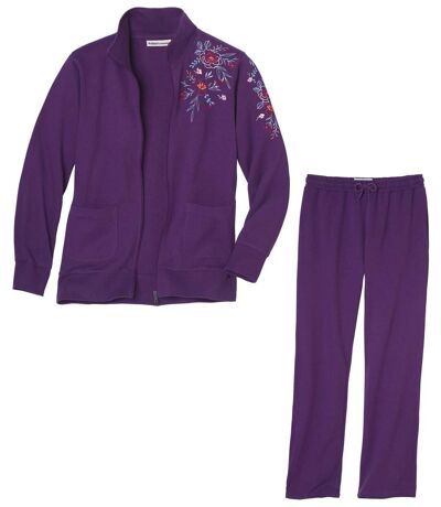 Women's Purple Brushed Fleece Loungewear Set