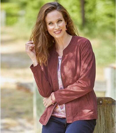 Women's Pink Faux Suede Jacket